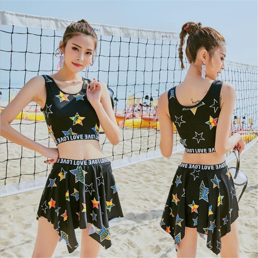 2018 Two Pieces Star Print Princess Siwmsuits Korean Style Hot Spring Bath Swimming Skirt Thin Boxer Brief Summer Girls Swimwear