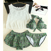 STAR MENG Japanese Garden Style Small Suihua White Lace Four Piece Swimsuit Bikinis Cute Female Student