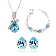 Austrian crystal Track of fireworks water drop pendant silver plated nigerian wedding african beads jewelry set