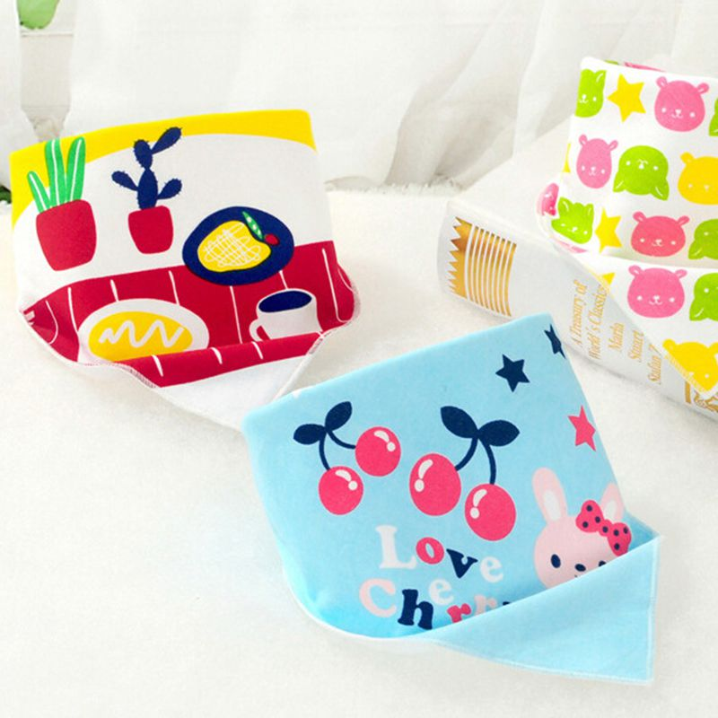 1Pcs Baby Bibs Cotton Waterproof Slobber Triangle Towel Boys Girls Infants Cartoon Bibs Burp Cloths Children Self Feeding Care