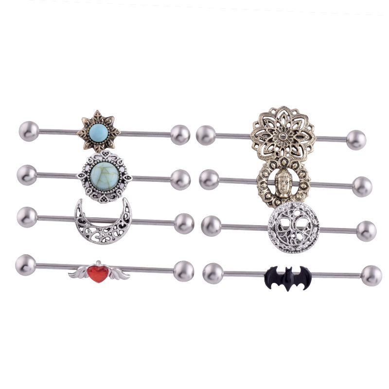 Earrings Piercing Industrial-Barbell Tragus Body-Jewery Ear-Helix Long-Bar Heart-Key
