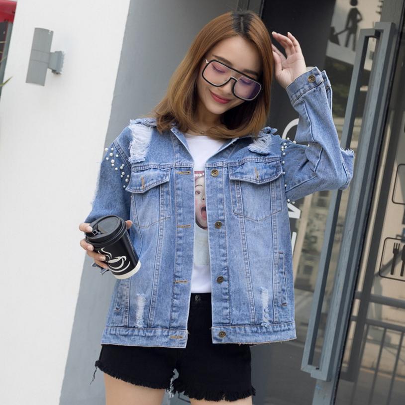 Blue De Manteau Femelle Femmes Denim Cowboy Lâche Mode Streetwear Outwear Nouveau Perles Tops Veste 2018 Holebeaded L1027 Harajuku Automne 1Cq5wxU