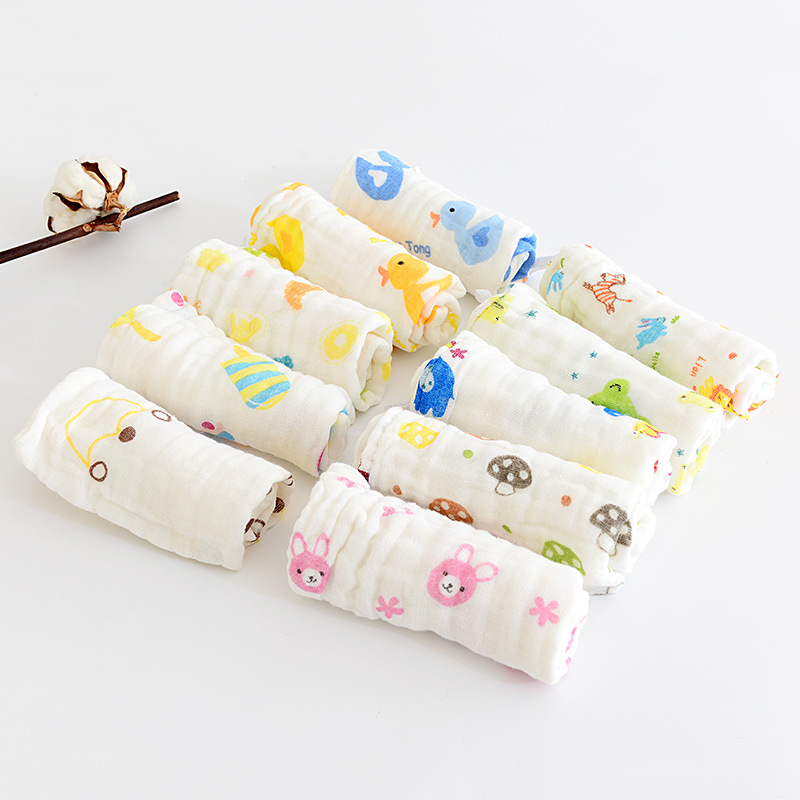 1 Piece Baby Cute Handkerchief Square Printed Cartoon Pattern Saliva Wrinkle Towel Muslin Cotton Infant Face Towel Wipe Cloth
