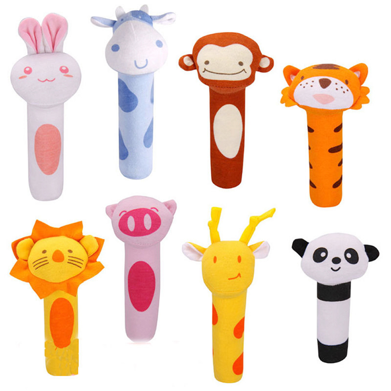 Baby Rattles Toy Lovely Cartoon Animal Design Soft Stuffed Infant Baby Plush Toys Infant ...