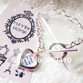 Free shipping!! 10pcs/lot  pink ribbon charm and heart charm can place  photo sliver plating bracelet