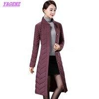 Light thin Down cotton Jacket Winter Warm Women High quality Long Loose Cotton Outerwear Women Slim Stand collar Overcoat B319