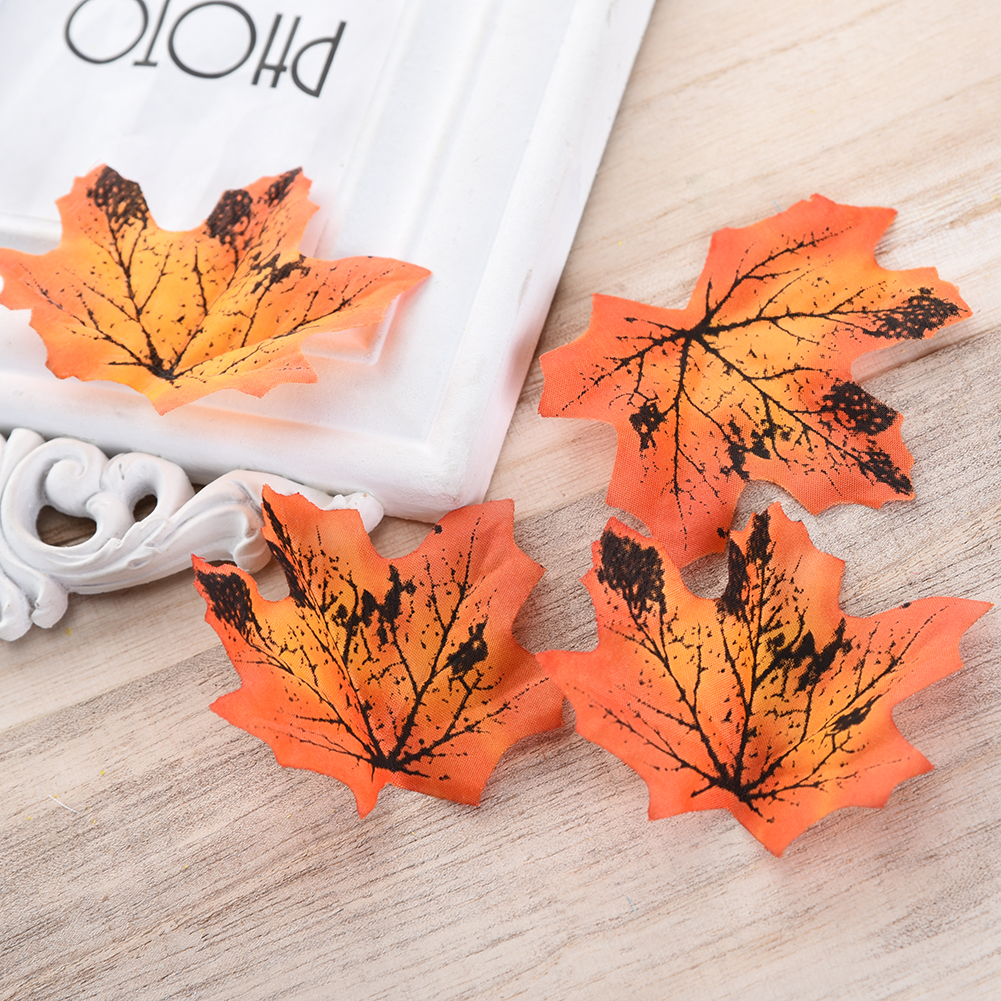 50pcs Artificial Flowers Silk Maple Leaves Plants Autumn Fall Leaf Art Scrapbooking Wedding Bedroom Wall Party Decor Craft