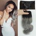 Clip en Extensiones de Cabello Humano Ombre Gris 120 g/set Humano Peruano Clip En Extensiones de cabello 7 unids/set Ondulado Remy Clip de Cabello Humano en