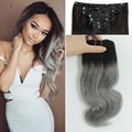 Ombre Grey Clip in Human Hair Extensions 120g/set Peruvian Human Hair Clip In Extensions 7pcs/set Wavy Remy Human Hair Clip In