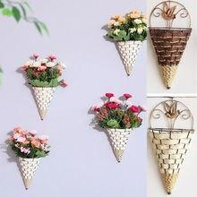 Натуральная плетеная корзина для цветов, настенный горшок для кашпо из ротанга, ваза-корзина, Декор, реквизит, подвески, украшения