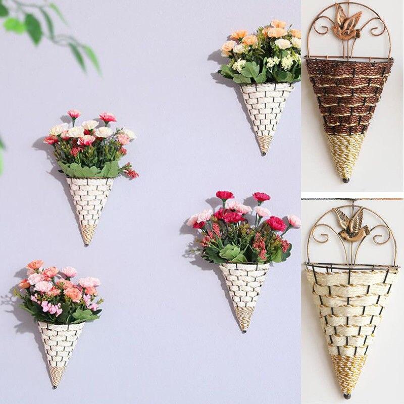 Natural Wicker Flower Basket Wall Hanging Pot Planter Rattan Vase Basket Decor Props Pendants Ornaments