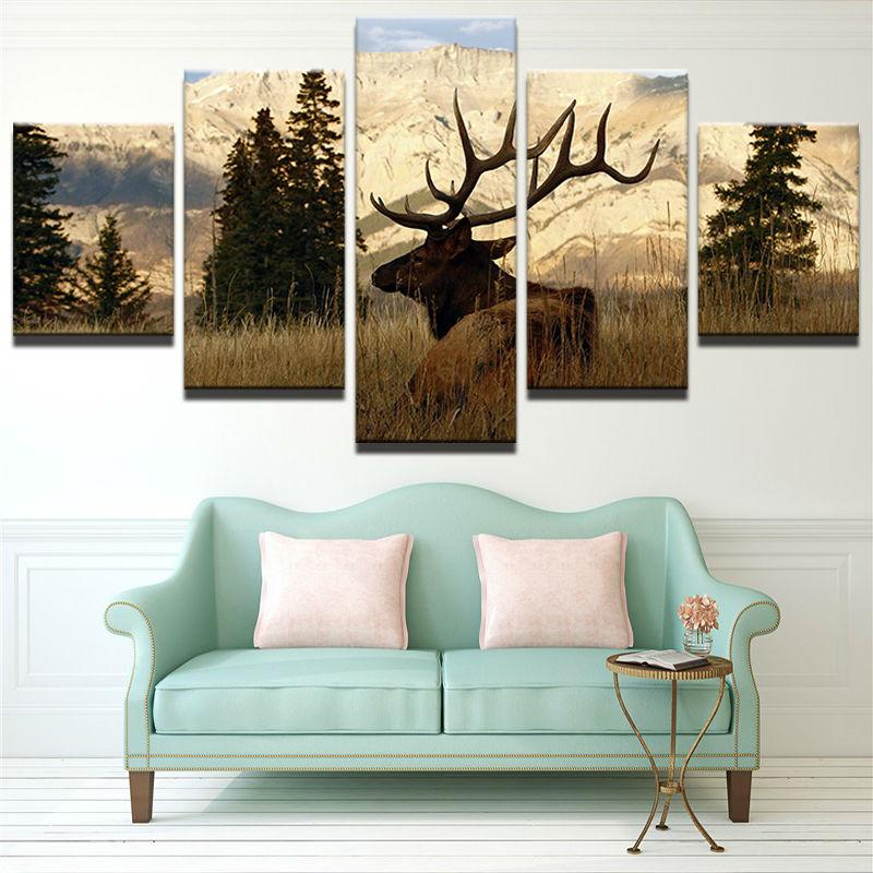 Marco arte de la pared decoración del hogar moderno 5 panel Deer paisaje Sala lienzo HD imprimir pintura modular imágenes cartel