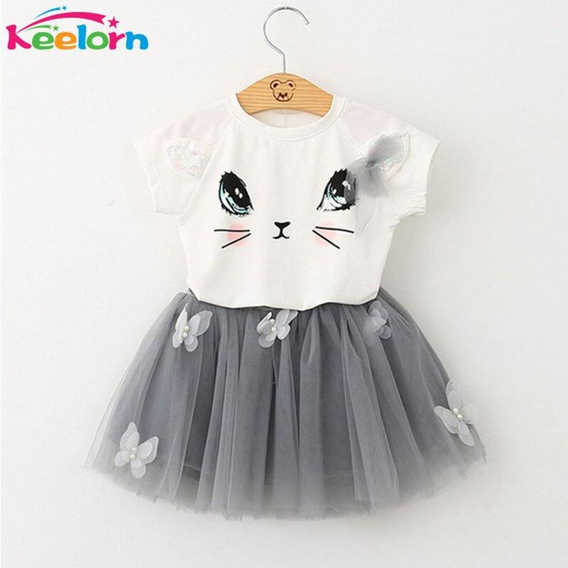Keelorn Mädchen Kleid 2018 Marke Kinder Kleidung Weiß Cartoon Kurzarm T-shirt + Schleier Kleid 2 Stücke baby mädchen kleidung für 2-6Y