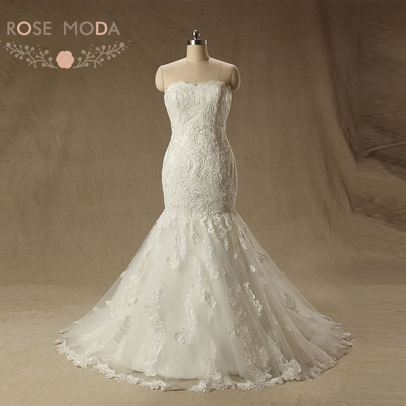French Lace Mermaid Wedding Dress: Rose Moda Strapless Mermaid Wedding Dress 2019 Lace