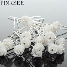 PINKSEE 20PCS Elegant Bridal Wedding Flower Hair Pins Hair Clips Headwear Women Jewelry Accessories Wholesale Tiara