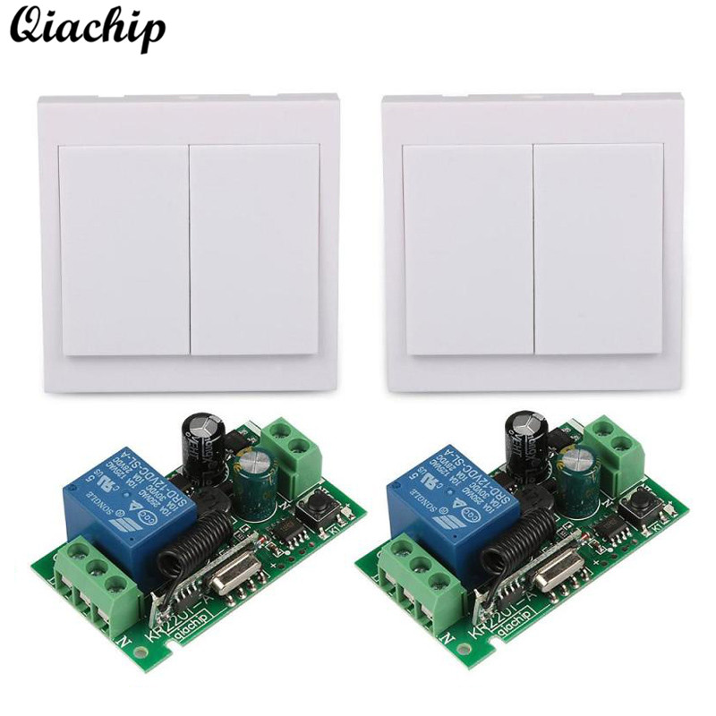 QIACHIP 433 Mhz Wireless AC 110V 220V 1CH Remote Control Switch RF Relay Receiver and 433Mhz 86 Wall Panel RF Remote Transmitter