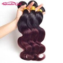 Wonder girl Ombre Brazilian Body Wave Hair Bundles 1B 99J/Burgundy Two Tone Human Hair Extensions 1PC Non Remy Hair