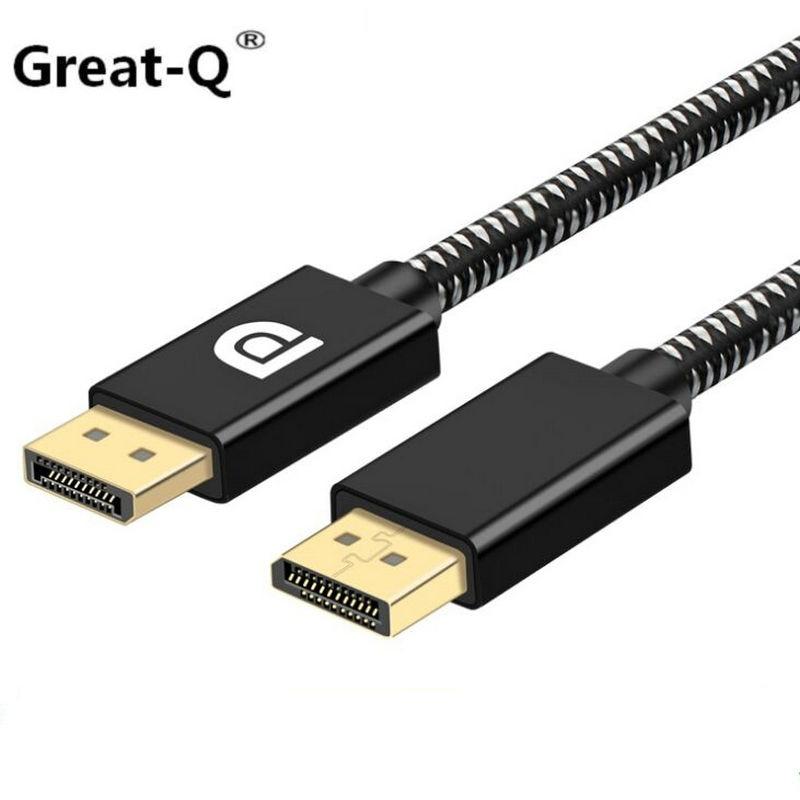 DisplayPort Câble PP Tressé 2 k 4 k DP à DP Câble Display Port HD 4 k * 2 k 144 hz Vidéo Audio Adaptateur Cordon 2 m pour ordinateur moniteur