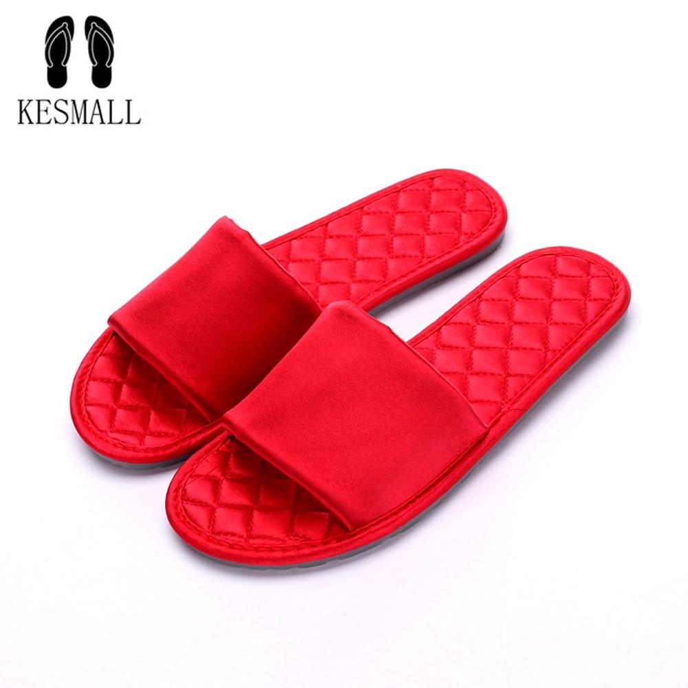 KESMALL mujer pantuflas de seda espesar antideslizante abierto del dedo del pie de la playa de playa Flip Flops, verano al aire libre zapatos de mujer de moda