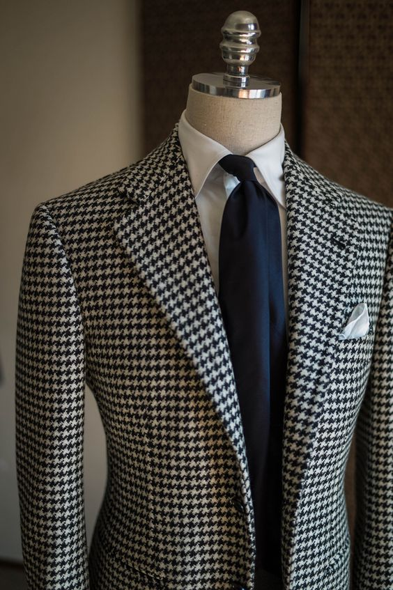 Tailored White Black Pattern Suit Men Slim Fit 2 Piece