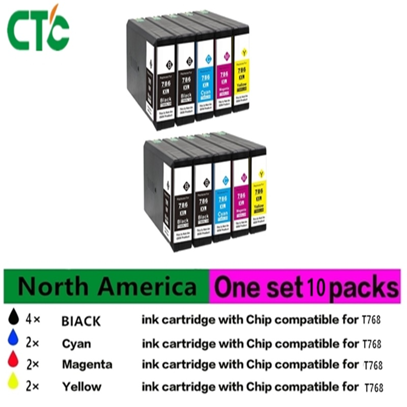 10 PK High Capacity Compatible ink cartridge Epson T786XL786XL E786XL 786 for Epson WorkForce WF-4630 4640 5110 5190 5620 56 10pcs for epson dx5 uv printer ink damper for epson stylus proll 4000 4800 7400 7800 9800 9400 9450 flat printer uv ink damper