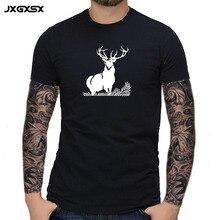 JXGXSX Summer Fashion Men's T Shirt Casual Deer Print Short Sleeve T Shirt Mens Clothing Trend Casual Slim Fit Hip-Hop Tops Tee