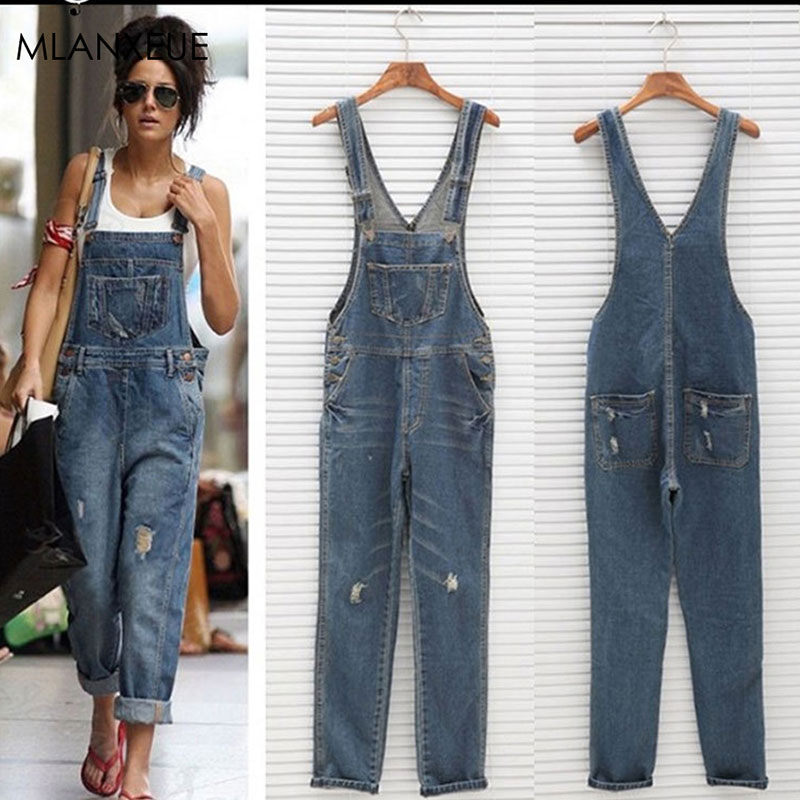 Solid Loose Overalls   Jeans   Women Casual Pockets Hole Wild   Jeans   Plus Size Ladies Fashion Full-length   Jeans   Streetwear Summer