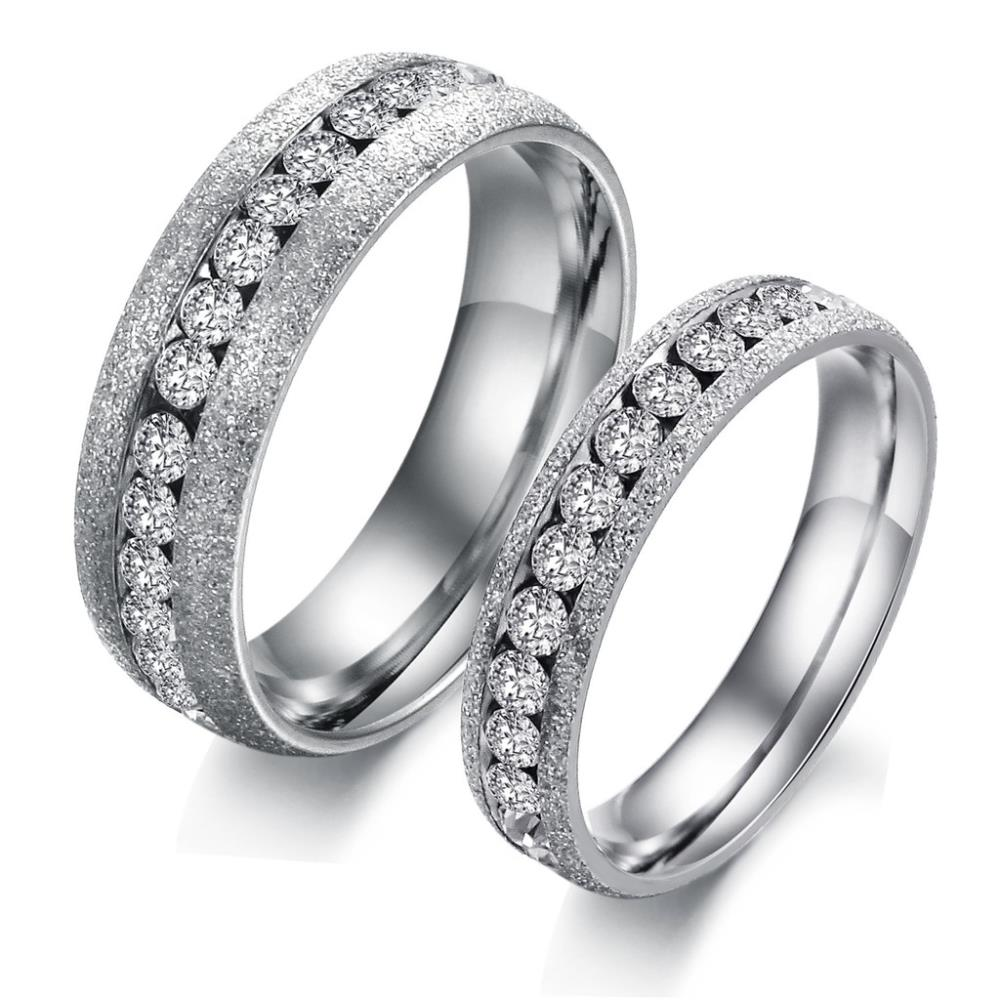 Titanium Stainless Steel Cz Cubic Zirconia Austrian Crystal Eternity Rings  For Couples Fashion Jewelry Anniversary Engagement