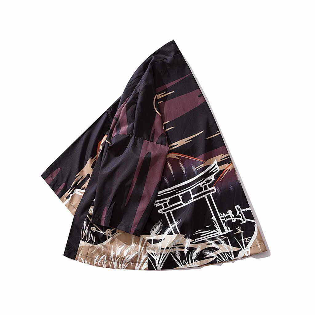 Sinicism 패치 워크 셔츠 streetwear 패션 남성 카디건 국립 인쇄 루스 자켓 유카타 코트 헐렁한 40 드롭 배송