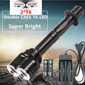 NEW Waterproof 4000lumen 2 x CREE XML T6 LED Flashlight Torch Tactical 5 Mode 2T6 Flashlamp lighting + 18650 Battery+Charger