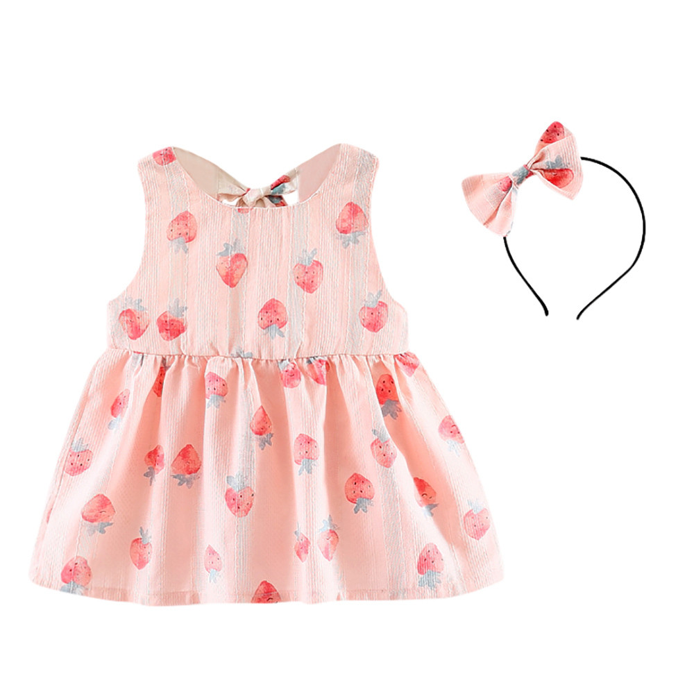 ARLONEET 2018 Baby Strawberry Print Backless Dress + Headband Set Summer Toddler A-Line Dress 0-24 Months Drop Shipping 30S413