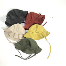 Kids Spring Summer Bucket Hat Boys Girls Collapsible Beach Cap Cotton Fisherman Hat Baby Sun Hat