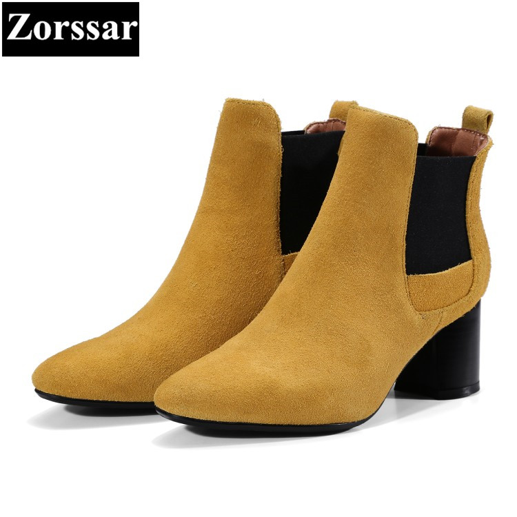 {Zorssar} 2018 Large size Women shoes pointed Toe Thick heel Elastic band ankle equestrian boots High heels womens boots winter zorssar brands 2018 new arrival fashion women shoes thick heel zipper ankle chelsea boots square toe high heels womens boots