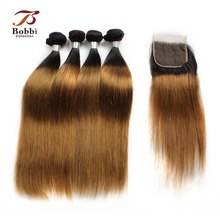 3/4 Bundle Med Lukning T 1B 30 Ombre Brun Auburn Brasilian Straight Hair Bundles Non Remy Human Hair Weave BOBBI COLLECTION