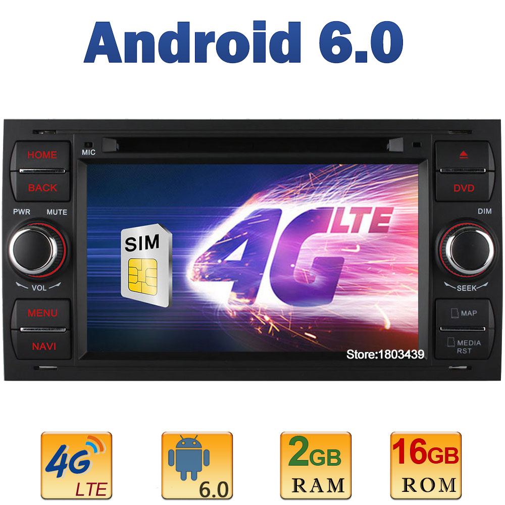 7 Quad Core 2GB RAM 4G LTE SIM WIFI Android 6.0 Car DVD Player Radio Stereo For Ford Mondeo Focus Transit C-MAX + Mirror Link
