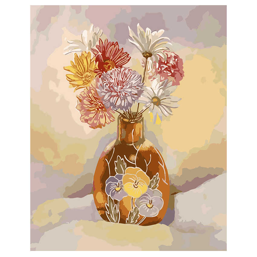WONZOM Chrysanthemum Painting By Numbers Flower Oil Painting Cuadros Decoracion Acrylic Paint On Canvas Modern Rose 9 Type Art in Painting Calligraphy from Home Garden