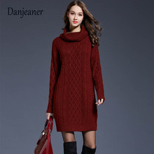 Danjeaner Thick Turtleneck Warm Women Sweater Autumn Winter Knitted Pullovers Femme Retro Twisted Long Dress Plus Size