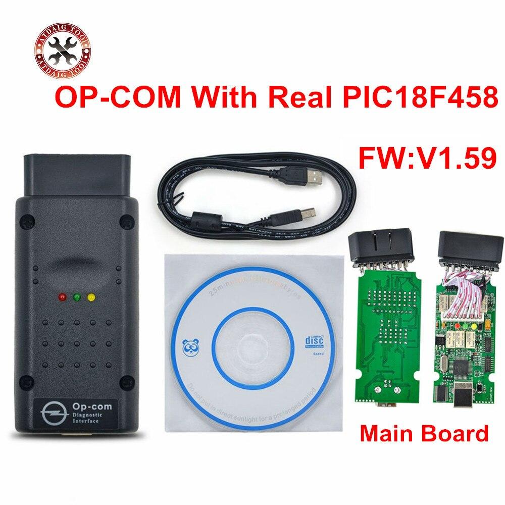 Prix pour OP-COM V1.59 Date Pour Opel SAAB Puce PIC18F458 HW 1.59 OPCOM CAN-BUS Interface OP COM Livraison Gratuite