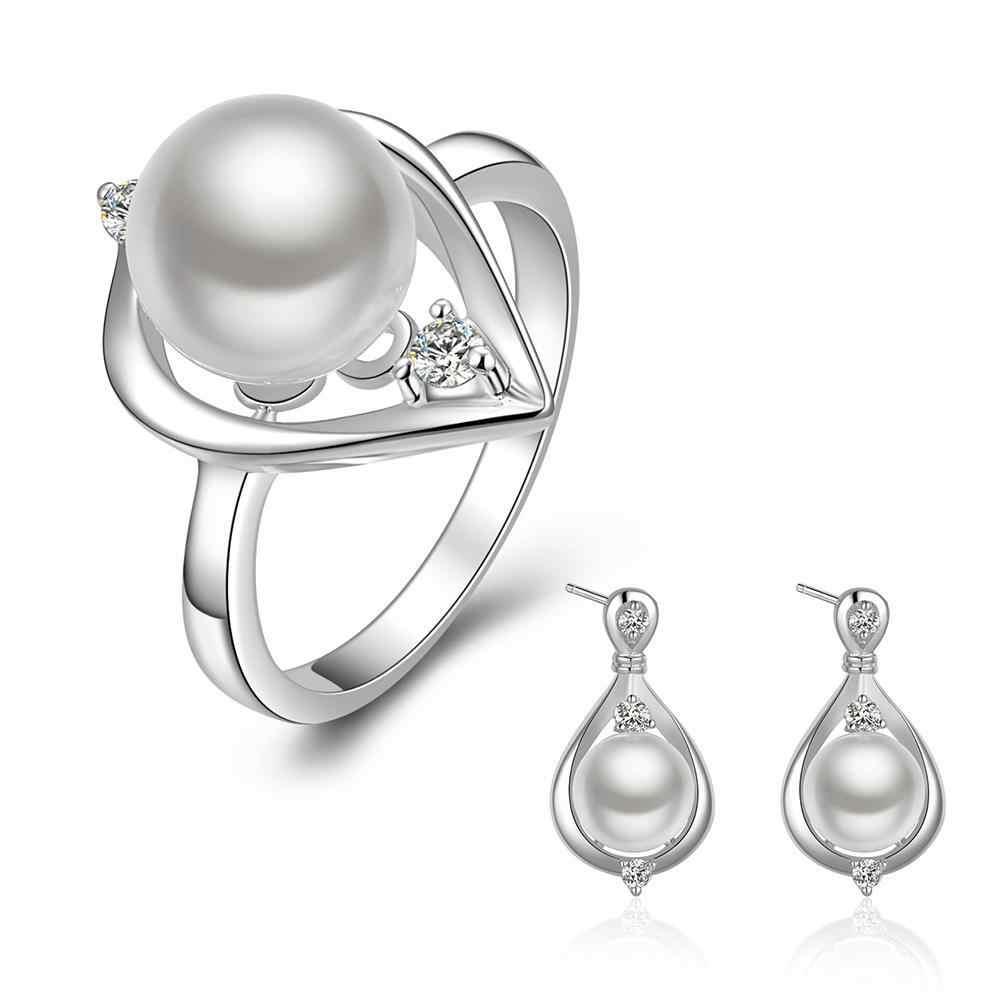 2018 ใหม่แฟชั่น 925 ประทับตรา silver plated ชุดเครื่องประดับคริสตัลจำลองไข่มุกแหวนต่างหูสร้อยคอชุดเครื่องประดับสำหรับผู้หญิง