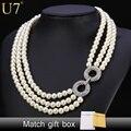U7 simulado joyería de perlas collar de las mujeres de moda al por mayor de moda de boda rhinestone choker collares n451