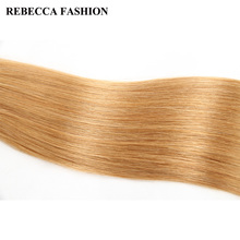 Rebecca Brazilian Silky Straight Weave Remy Pre-Colored Human Hair Bundles 113g StrawBerry Blonde Hair Weave 27# For Salon