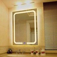 Вертикальный теплый светодио дный со светодиодной подсветкой зеркало для ванной комнаты квадратное настенное крепление для ванной комнат