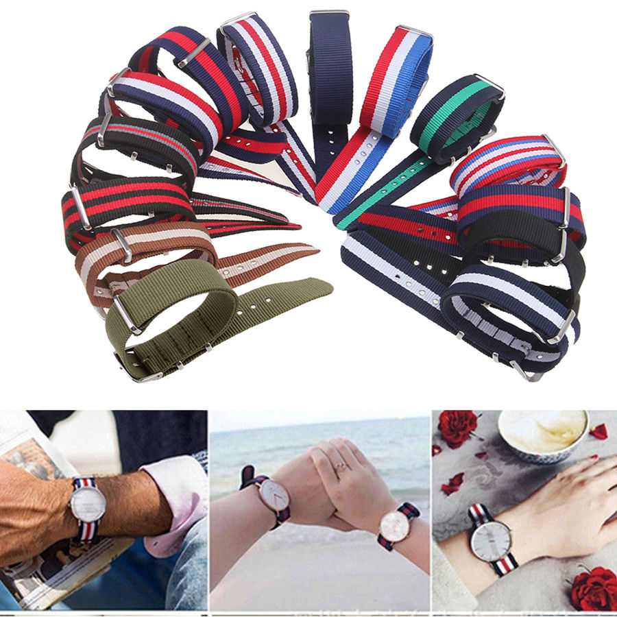 Causal Watch Band Luxury Nylon Fabric 18mm 20mm 22mm Legering Spänne Klocka Tillbehör Färgglada Stripe Watchbands Sport Band