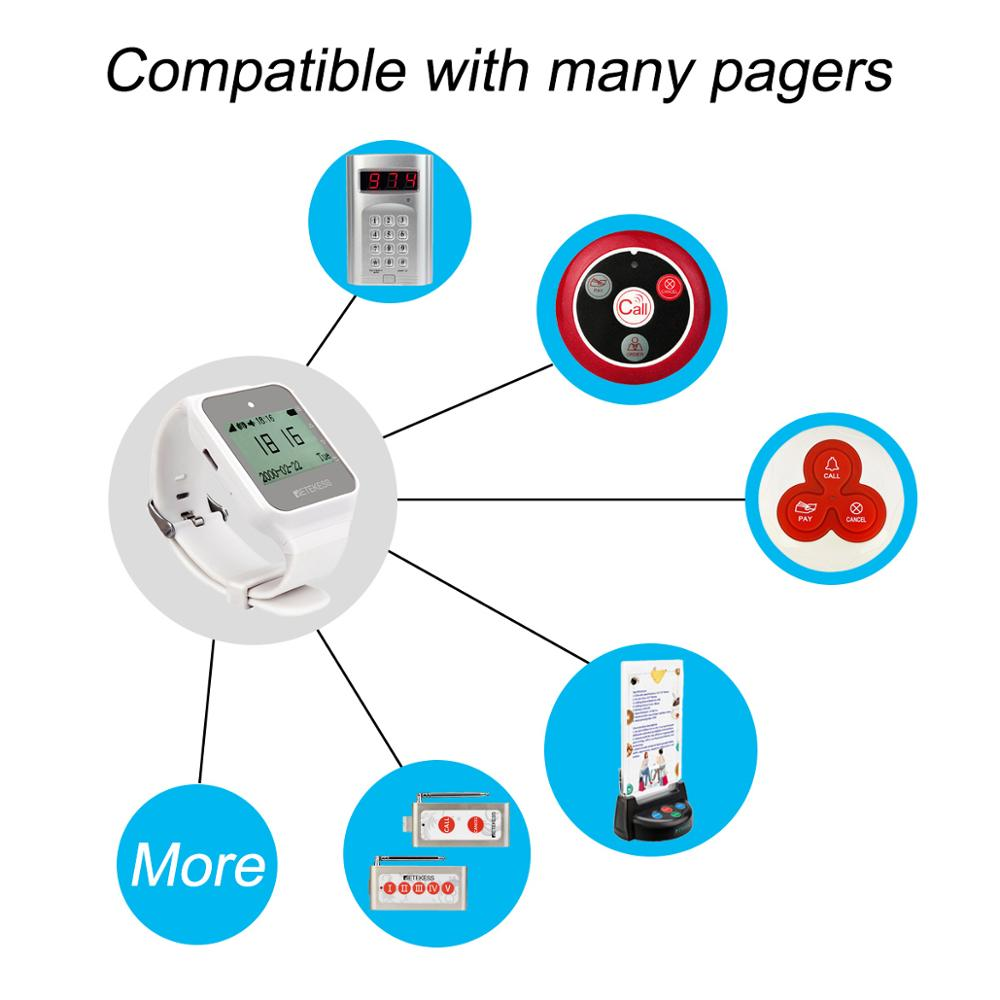 Image 4 - Retekess 2pcs TD108 Wireless Watch Receiver 433MHz Multi Language  Pager Waiter Calling System Restaurant Pager Customer ServicePagers