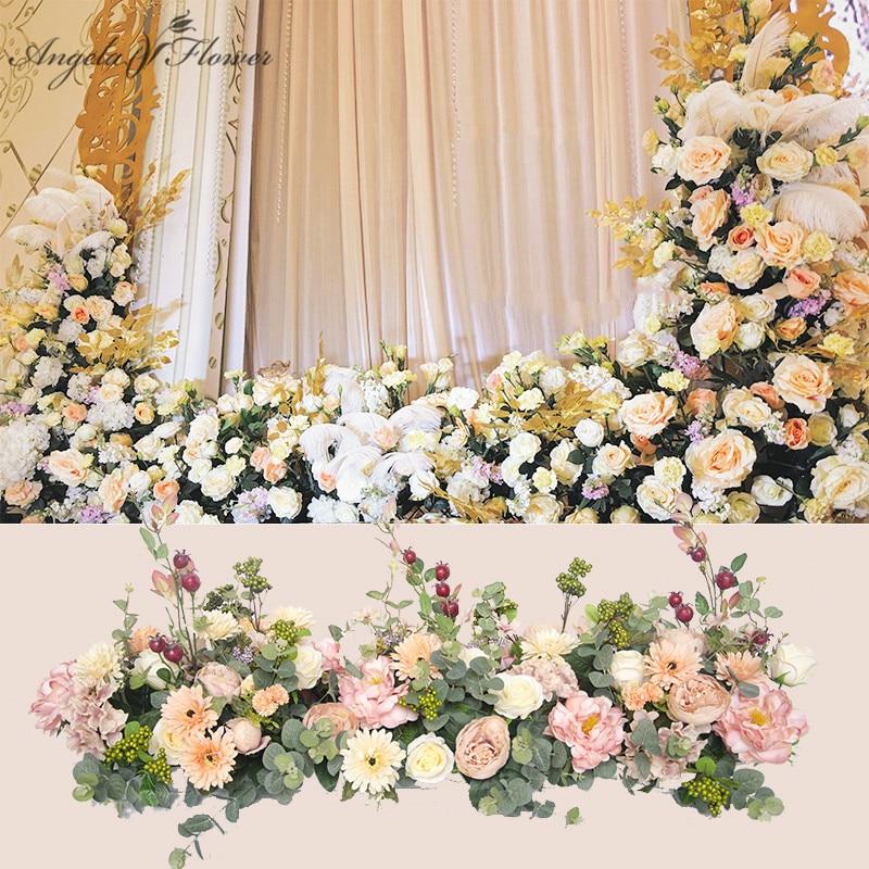 DIY Customize wedding decor prop artificial flower wall T stage background road lead flower row wedding