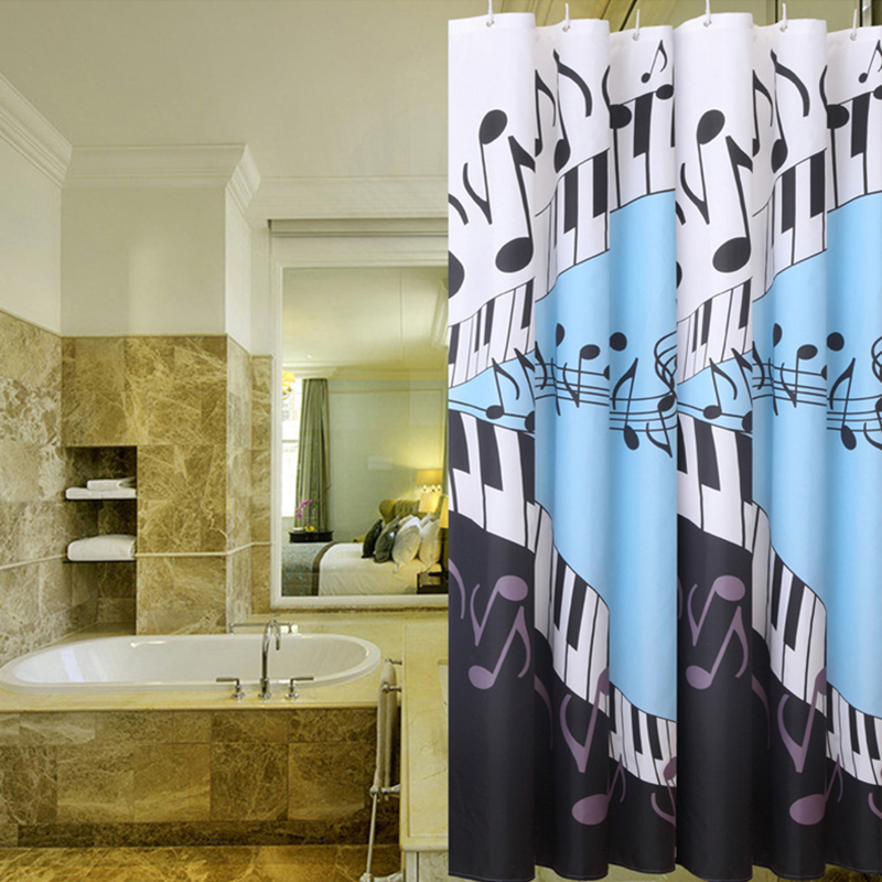 YAOXING New Musical Note Shower Curtain Waterproof Bath Curtain Mildewproof  Bathroom Curtain Polyester Shower Curtains 180x180cm