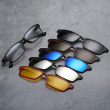 Width-138 Five Lenses 5+1 Polarized Sunglasses Magnetic Myopia Glasses Men Women Narrow Frame Sun Clips