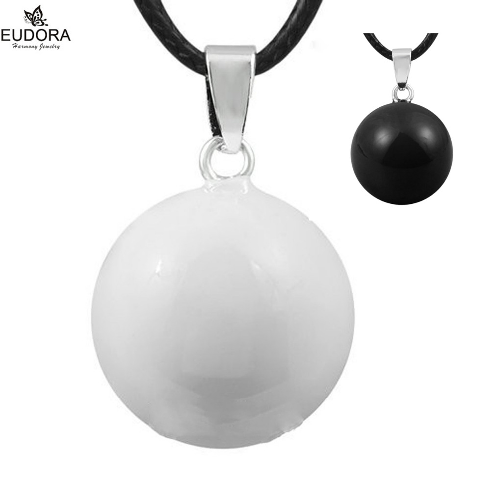 5PCS Classic White/Black Harmony Bola Pendant Necklace Mexican Bola Baby Angel Caller Wishing Ball Charms Pendants Jewelry
