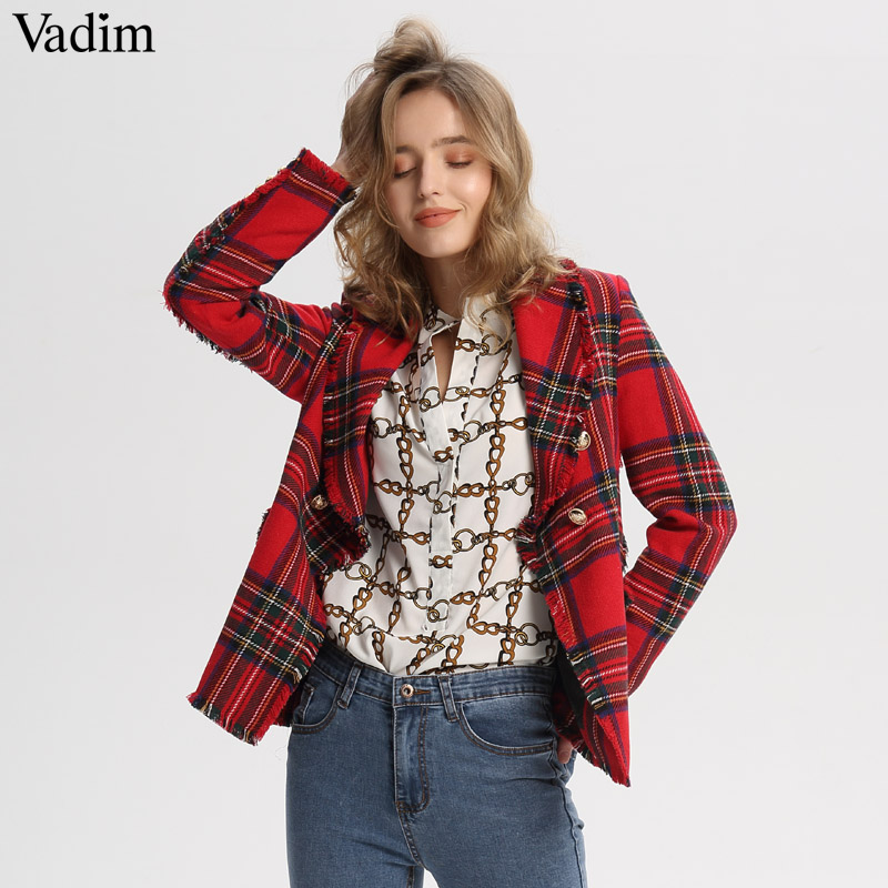 Vadim Women Plaid Notched Collar Tweed Blazer Double Breasted Pockets Tassel Hem Female Loose Casual Outwear Chic Tops CA106