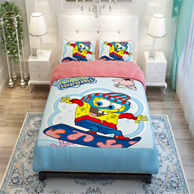 Cotton Bedding Sets Cartoon Spongebob Squarepants 3pcs King Queen Full Twin Size Good Quality Bed Set